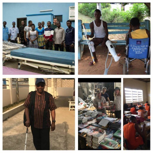 Donations of hospital beds, wheelchairs, canes for the blind, walking aids and 5000 schoolbooks in Ghana!!